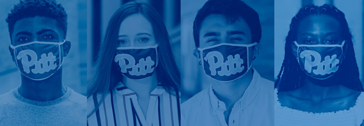 four Pitt students wearing face coverings